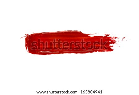 red stroke of the paint brush isolated on white - stock photo