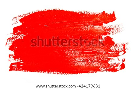 Red strokes of the paint brush isolated on a white - stock photo