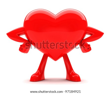 Red strong hart posing isolated on white - stock photo