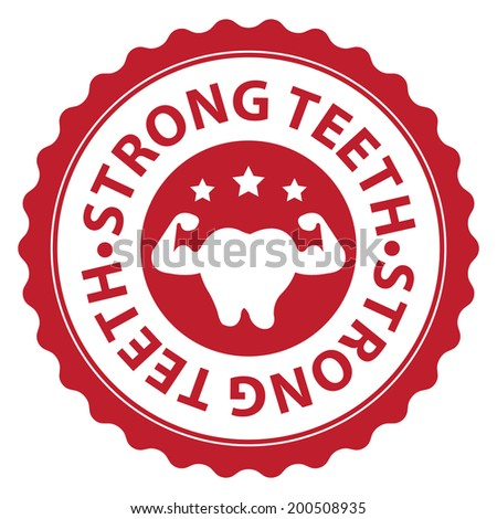 Red Strong Teeth Icon, Sticker, Badge or Label Isolated on White Background - stock photo