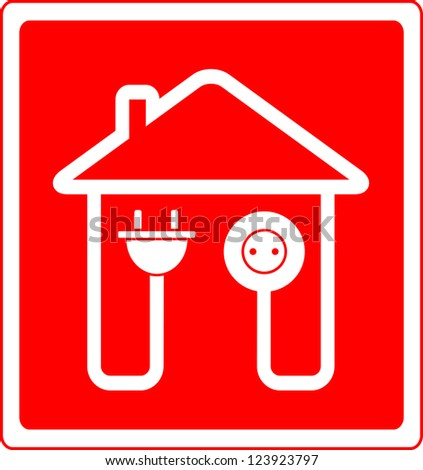 red style electrical symbol with AC outlet and plug
