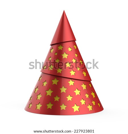 Red stylized Christmas tree with yellow stars, isolated on white background