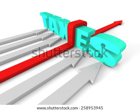 Red Success Arrow Overcoming TAXES Word Barrier. Business Concept 3d Render Illustration - stock photo