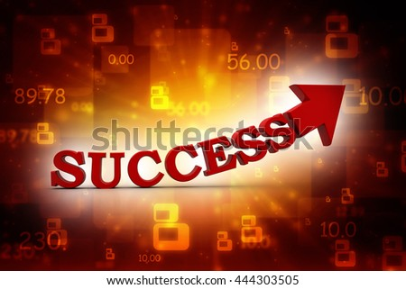 red success text arrow on white background. success oncept 3d render illustration - stock photo