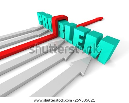 Red Successful Arrow Overcoming PROBLEM Word Barrier. Success Business Concept 3d Render Illustration - stock photo