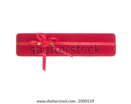 Red suede gift box over white background