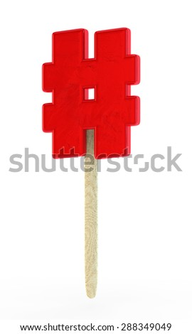 red sugar candy in the form of a letter hash on a wooden stick - stock photo