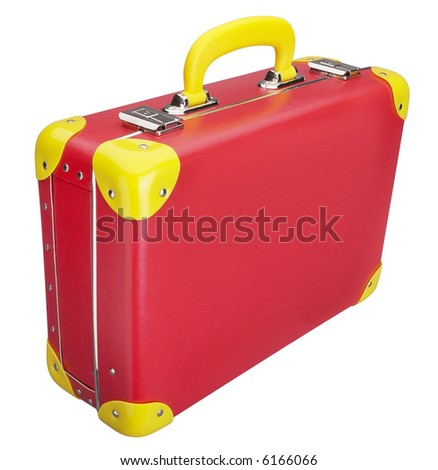 Red Suitcase - isolated on white - stock photo