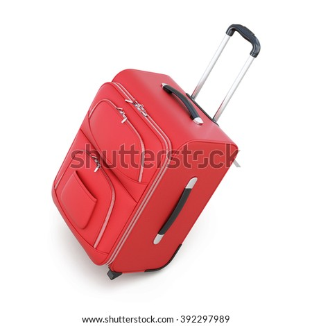 Red suitcase on wheels isolated on white background. With a retractable handle. 3d illustration - stock photo