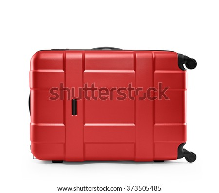 red suitcase plastic. lying on its side - stock photo