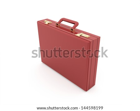 Red suitcase rendered isolated on white background