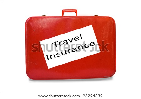 Red suitcase Travel Insurance concept isolated over a white background - stock photo
