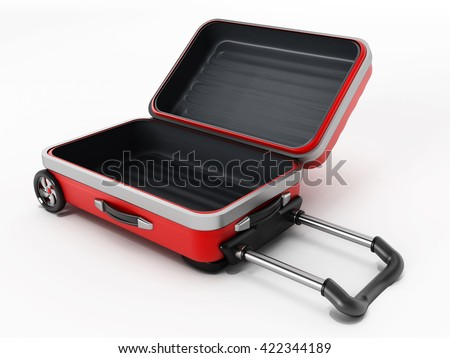 Red suitcase with open lid isolated on white background. 3D illustration. - stock photo