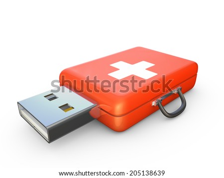 Red suitcase with white cross and usb connector