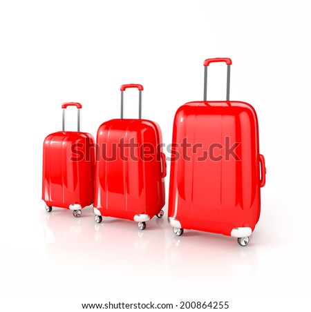 Red suitcases isolated on white. 3d illustration - stock photo