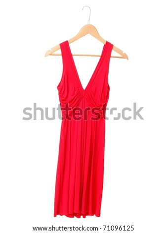 Red summer dress on hanger isolated on white background. - stock photo