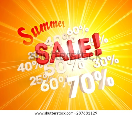 Red summer sale letters upon white percent numbers and sunlight
