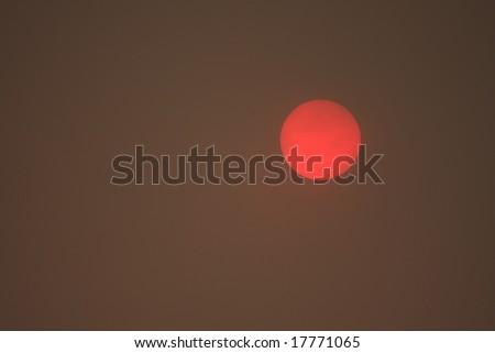 red sun - stock photo
