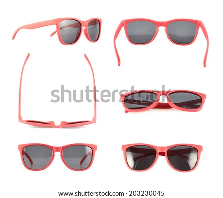 Red sun glasses isolated over the white background, set of six foreshortenings - stock photo