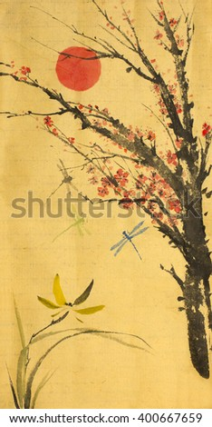 red sun orchid and cherry blossoms - stock photo