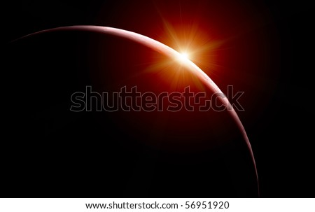 Red sun rising - stock photo