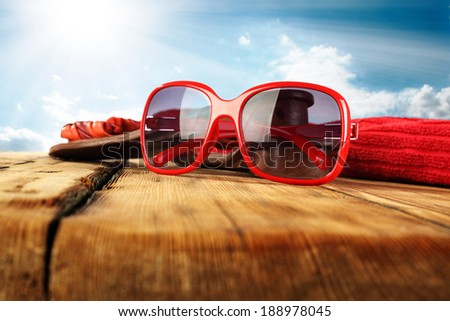 red sunglasses  - stock photo
