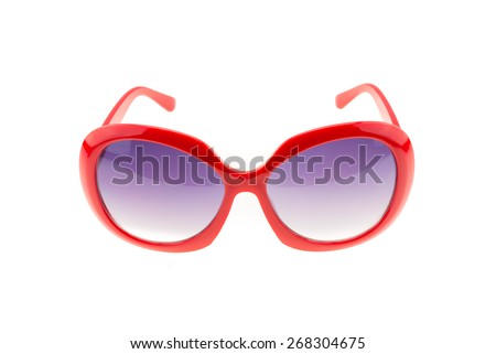 Red sunglasses isolated on white background - stock photo