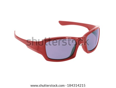 red sunglasses on white - stock photo