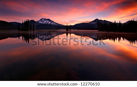 Red Sunrise on Sparks Lake Oregon - stock photo