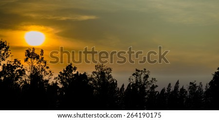 red sunset bright sun nature background - stock photo