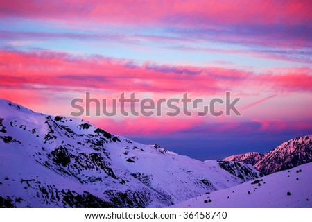 red sunset in Andorra - stock photo
