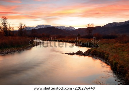 Red sunset in Heber Valley, Utah, USA. - stock photo