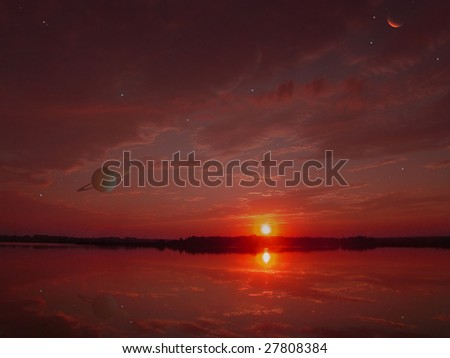 Red  sunset on an another's planet. Astronomy and stars