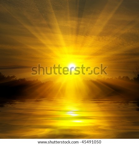 Red sunset on lake - stock photo
