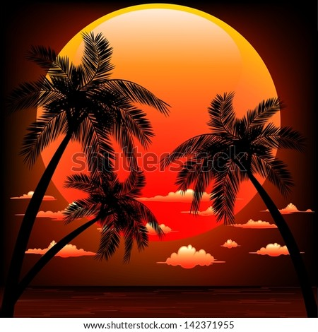 Red Sunset on Peaceful Tropical Seascape