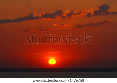 Red sunset. Sibir. Russia. - stock photo