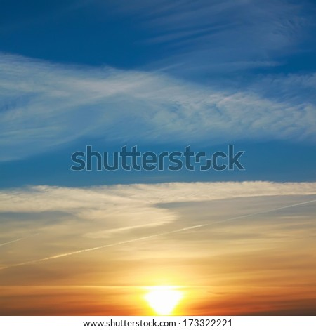 Red sunset sky - stock photo
