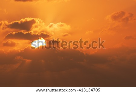 Red sunset with clouds - stock photo
