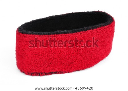 Red Sweatband (Headband) Isolated on White - stock photo