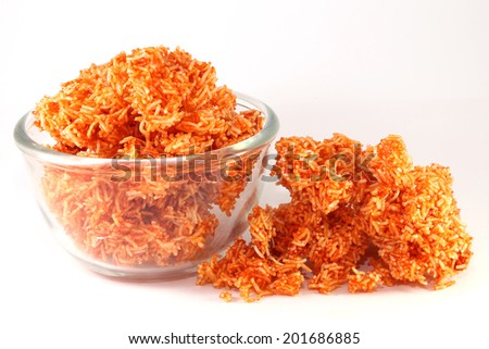 Red Sweet crispy noodles - stock photo