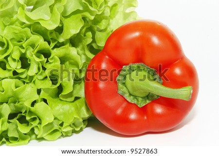 red sweet pepper isolated over white background - stock photo