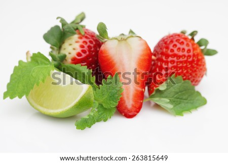 Red sweet strawberrys isolated on white background - stock photo