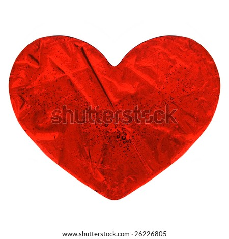 red sweet transparent hearts isolated on white - stock photo