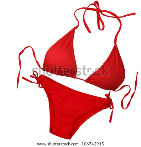 Red swimsuit isolated on white background with clipping path - stock photo