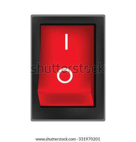 Red switch on button raster, on off button, on icon