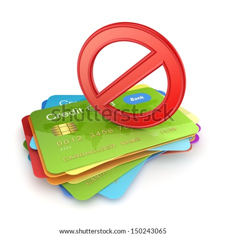 Red symbol of ban on colorful credit cards.Isolated on white.3d rendered. - stock photo