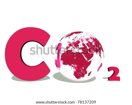 Red symbol of carbon dioxyde with earth instead of O in white background - stock photo