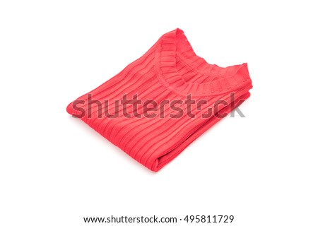 red t-shirt folded on white background