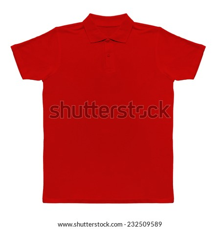 Red t-shirt isolated on white - stock photo