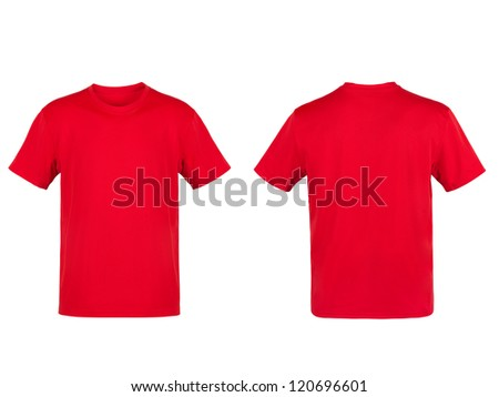 Red T-shirt isolated on white background - stock photo